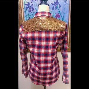 E2 Tops - NWOT E2 Brand Sequin Pocket Flannel Sz: Small